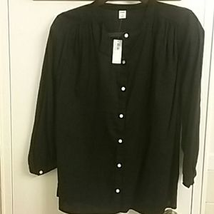 Collarless Button Blouse NWT